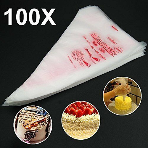100 Plastic Disposable Icing Piping Pastry Bag Cake Cupcake Decor Kitchen Tool