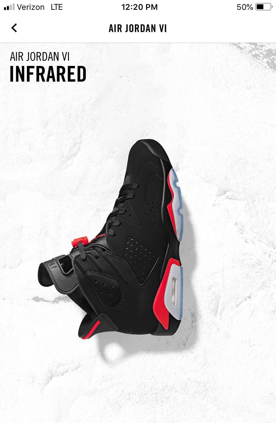 NEW DS 2019 Nike AIR JORDAN 6 VI RETRO OG Black INFRARED 384664 060