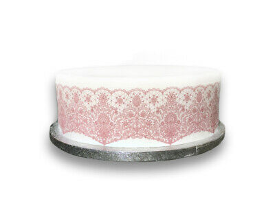 Cake Toppers 12 x Vintage Pink Lace Effect Mix PRE-CUT Rice Paper CupCake