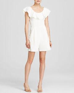 205e623a5dc3 French Connection Women s Aro Ruffle Neck Crepe Romper-white Size 2 ...