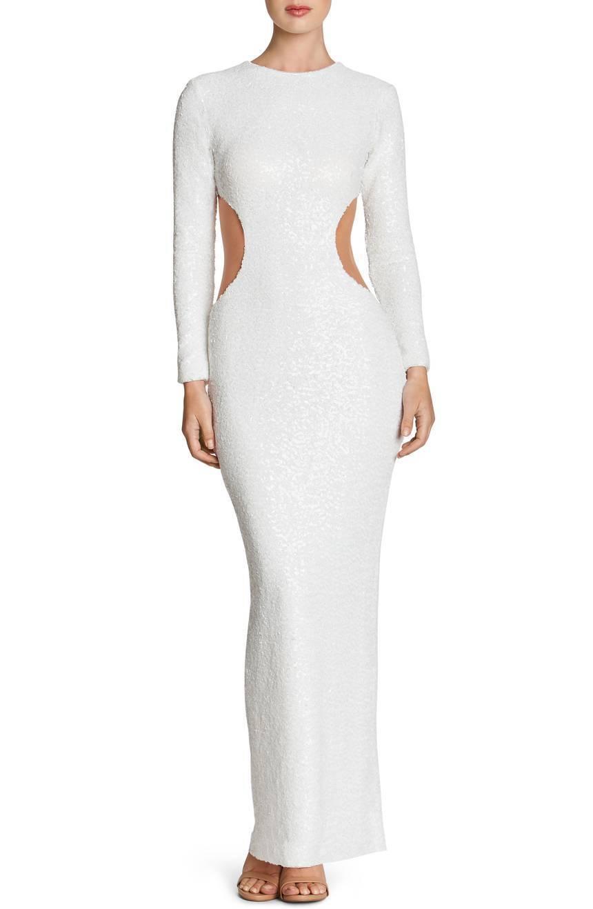 DRESS the POPULATION White Sequin Cutout Sheer Bodycon LARA LARA LARA Stretch Maxi Gown M 441acc