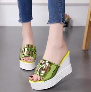 Summer-Women-039-s-Slipper-High-Heels-Cute-Sandals-Casual-Wedge-Heels-Shoes-Summer