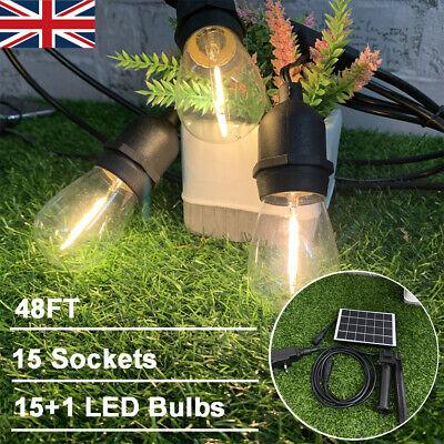 36-65 ft E27 Hanging Sockets with LED Bulbs Outdoor Garden Festoon String Lights