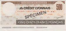France 500 Francs , Nd. 1960's Specimen Uncirculatd Traveller's Cheque Rare