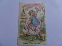 Carte postale fantaisie ancienne,   GERMAINE BOURET OEUFS LAPINS POUSINS