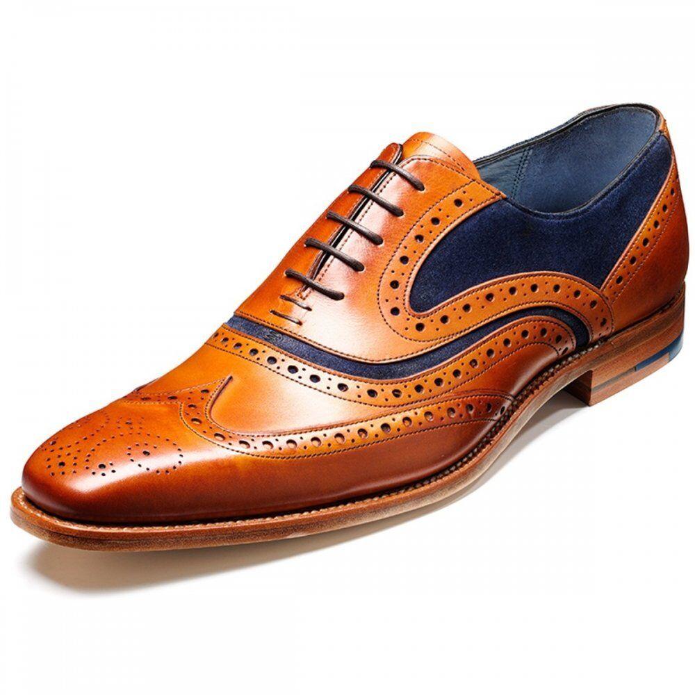 Barker McClean Cedro Cuero azul Suede Con Cordones Estilo Zapato