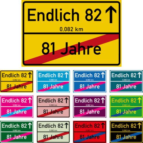 82 Geburtstag Schild 82 Jahre Party Deko 12 Farben 30x20 cm Kunststoff