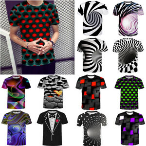 Funny-Hypnosis-3D-T-Shirt-Men-Women-Colorful-Print-Casual-Short-Sleeve-Tee-Tops