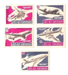 5-Soviet-USSR-Latvia-LSR-Matchbox-Labels-m-f-Baltija-Liepaja-40-YEARS-AEROFLOT