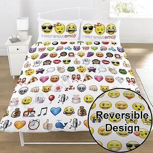 Emoji-Multi-Double-Couverture-Housse-et-D-039-Oreiller-Set-Smiley-Tete-Literie