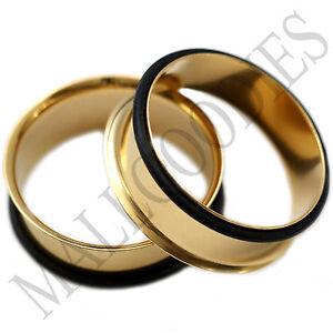 0866-Gold-Single-Flare-Flesh-Tunnels-1-3-8-034-Inch-Ear-Plugs-35mm-Earlets-1-Pair