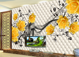 3D Yellow Flowers Vines 32 Paper Wall Print Wall Decal Wall Deco Indoor Murals