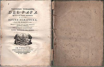 PIO VI-VERIDICA IMMAGINE DEL PAPA....1782-ANTONIO ZATTA-N104