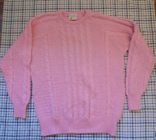 Carraig Donn Irish Knit Wool Sweater Pink Womens Large Vintage 80's Oversized