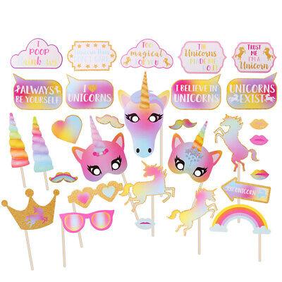 Uk 30x Unicorno Arcobaleno Photo Booth Sostegni Compleanno Bambina Festa Di Nozze Decor Selfie-