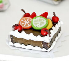 Miniature Fruit Topped Square Chocolate Cake 3/4 inch Doll House Fairy      B117