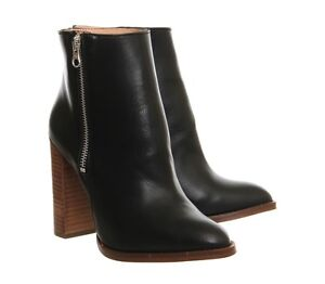 00 Zip Rrp Black 38 Once Boots Uk5 Office Frenzy High Worn Heel Leather £120 5SSwg