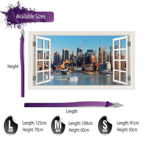New york fenêtre autocollant mural couleur pleine-lounge kitchen wall art C382