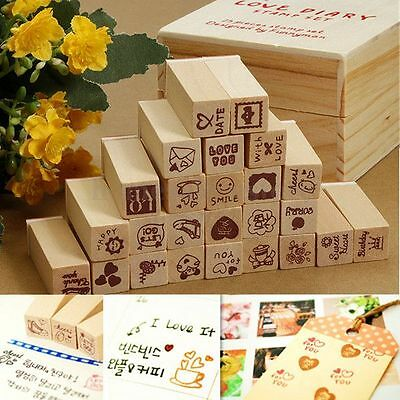 25pcs Wooden Box Lovely Diary Pattern Stamp Rubber Cute Multiduty Writing Art