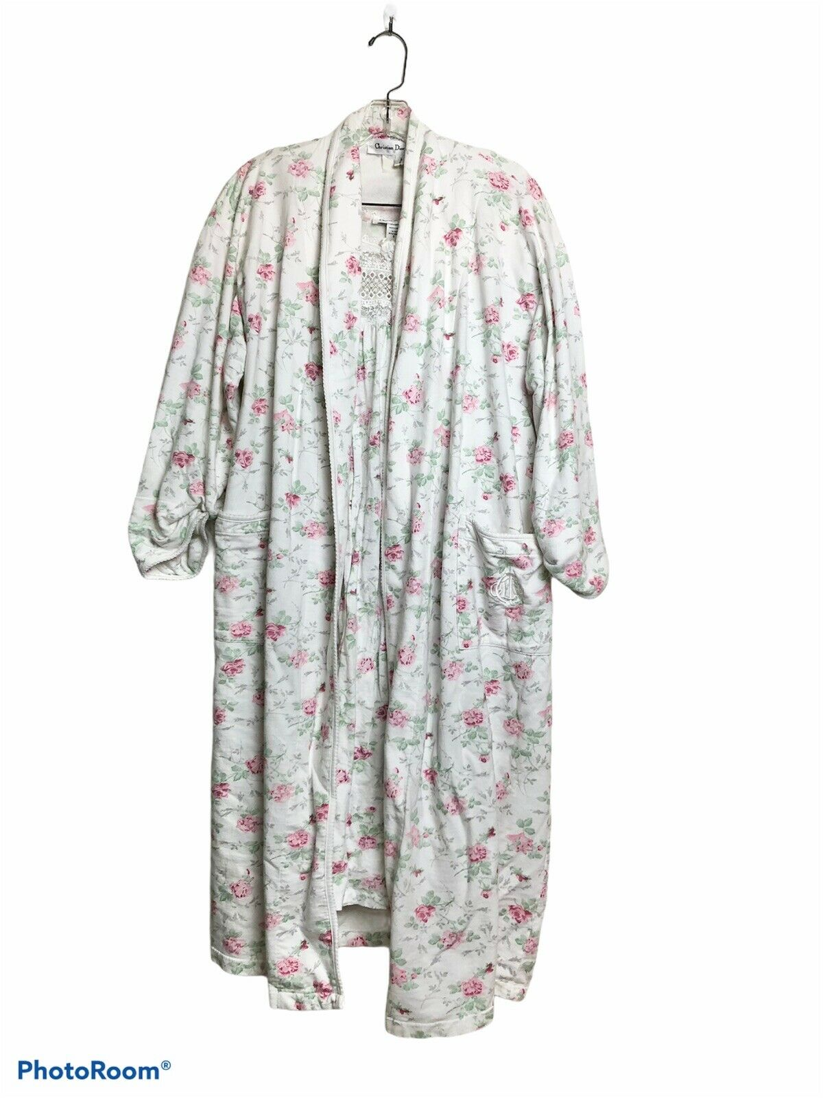 Vintage Christian Dior Nightgown Robe Set Floral Lace Cotton Womens S