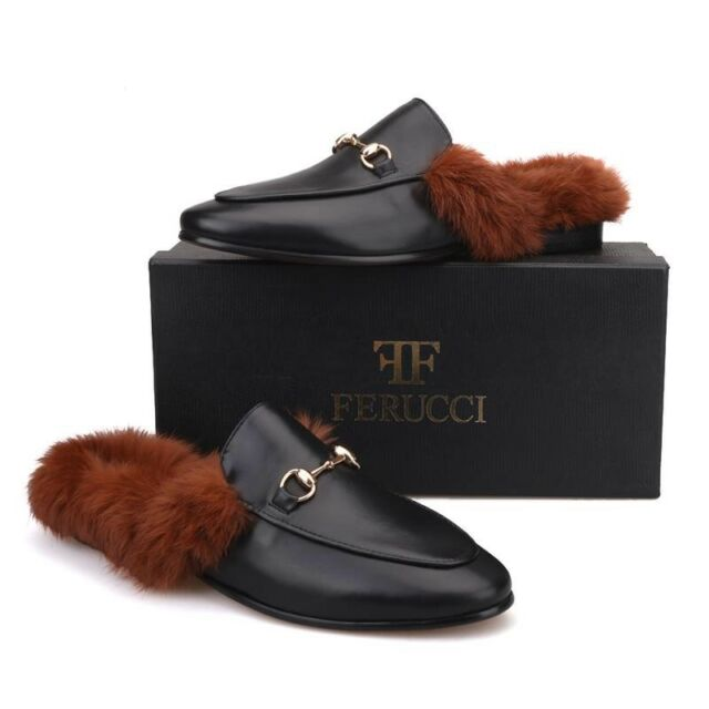 FERUCCI Men Black Leather Sandals with Horsebit and Fur Slippers loafers  Flats