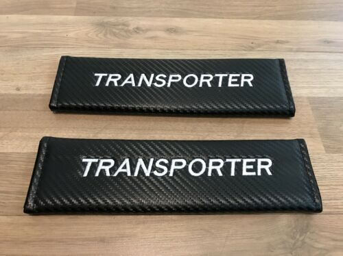 2X Seat Belt Pads Carbon Gift vw volkswagen Transporter Shuttle Van Turbo TD Bus
