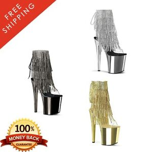 735ac42821e Details about Pleaser XTREME-1017RSF Chrome Plated Platform Ankle Boot  Rhinestone Fringe