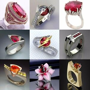 Fashion Flower 925 Silver Ruby Ring Women Men Wedding Turkish Gift Size 6-10