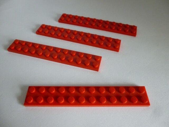 5 x LEGO® 3460 Grundbausteine flach Platten 1x8 Noppen rot.