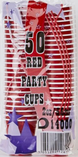 Shot Glasses American Plastic 2oz Disposable Mini Red Party Cups Beer Pong