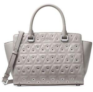27bf86853ac87 Michael Kors Pearl Grey Quilted Leather Selma Grommet Medium Top Zip ...