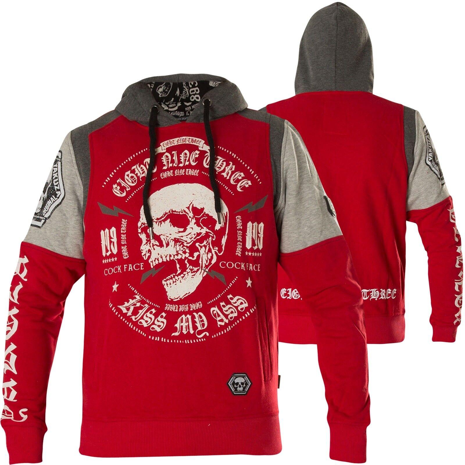 YAKUZA Hoody Skull Tri Face Hoodie HOB-12035 Ribbon Red red grey Hoodies