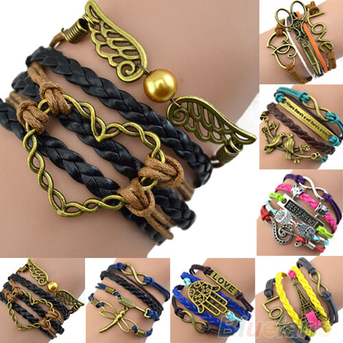 Women Vintage Multilayer Braided Bracelet Handmade Hollow Chain Cuff Bangle B52U