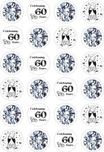 Image Is Loading 24 60th Diamond Wedding Anniversary Cupcake Cake Toppers