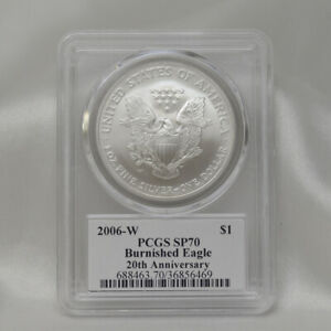 2006-W Burnished Silver Eagle PCGS SP70 20th Anniversary Mercanti Signed w/ Flag