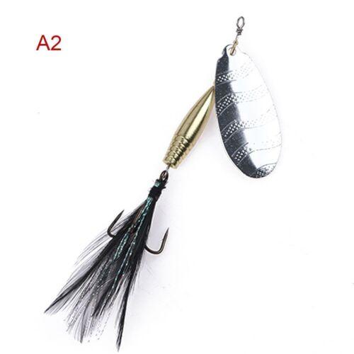 1pc Dauerhaft Löffel Spinner Kurbelköder Feather Treble Hook Angelköder