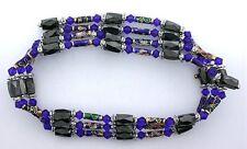 36 Inch Blue Crystal Cloisonne Hematite Magnetic Wrap Bracelet Necklace m36ibn8