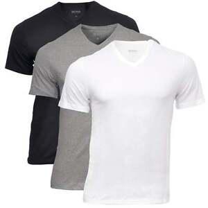 55cc0123 HUGO BOSS Men's 3-Pack Cotton Classic V-Neck T-Shirt, Black Grey ...
