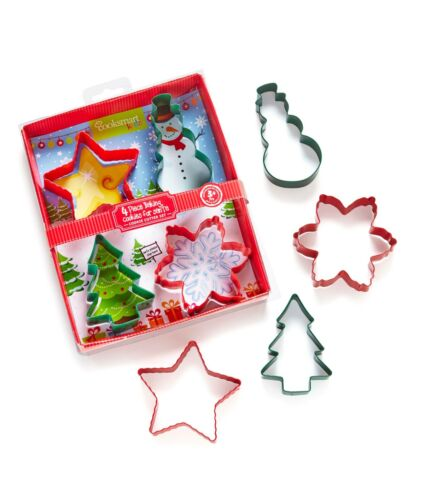 cookie Cooksmart Christmas cutters 4 shapes pastry brand new biscuit