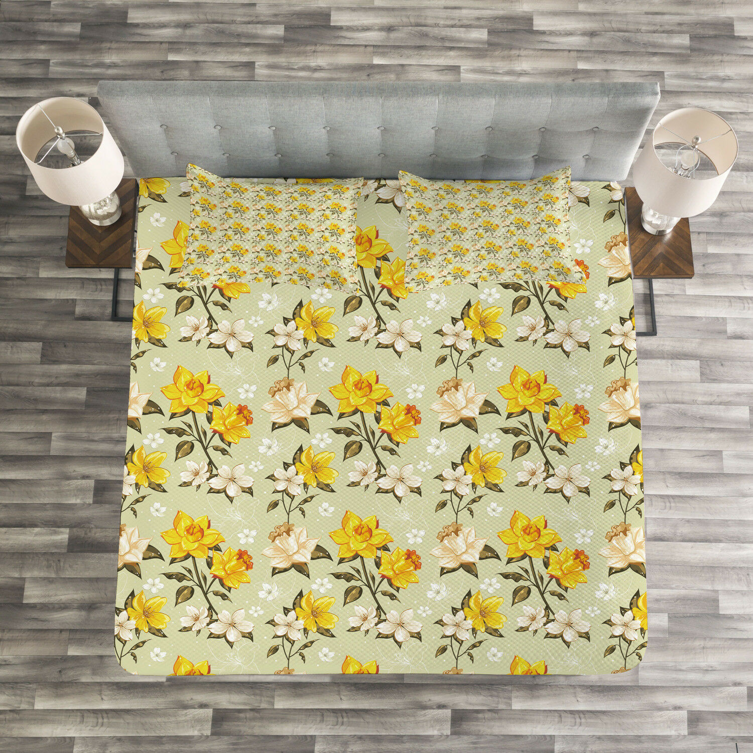 Vintage Quilted Bedspread & Pillow Shams Set, Narcissus Wildflowers Print