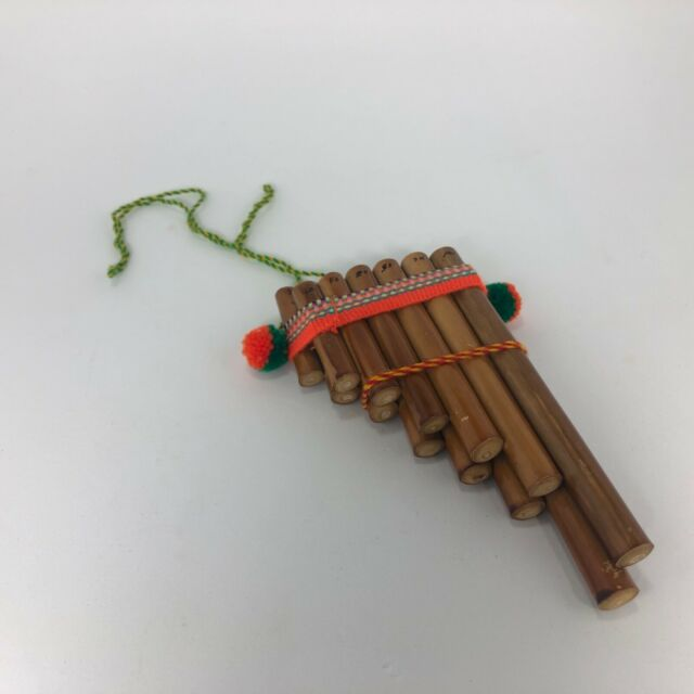 Handmade Peruvian Natural Wooden Bamboo Pan Flute Pipe With Multicolored Tribal