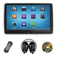 "Universal Clip-On Car DVD/SD/USB 10.1"" HD Headrest Touch-Screen Monitor Games IR"