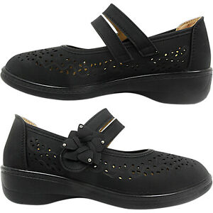 chaussures de sport 57bf6 24a32 Détails sur Large Femmes Touch Sangle Poids Léger Talon Compensé Chaussures  Marche Confort