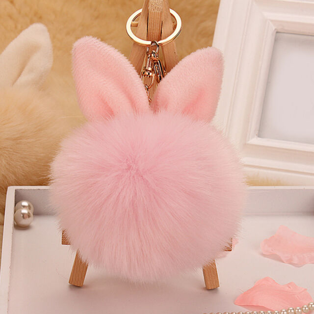 Rabbit Ear Handbag Charm Key Ring Rabbit Fur Ball PomPom Cell Phone Car Keychain