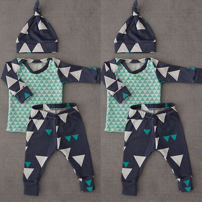 Newborn Baby Boy Girls Long Sleeve Tops +Long Pants Hat 3PCS Outfits Set Clothes