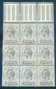 Malta-GG-5th-1921-2-2d-grey-an-unmounted-top-marginal-block-9-2019-05-31-10