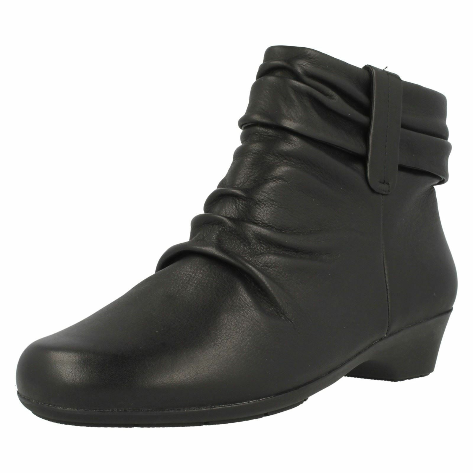 Ladies Black Leather Rouched Clarks Ankle Boots Matron Ella E Fitting