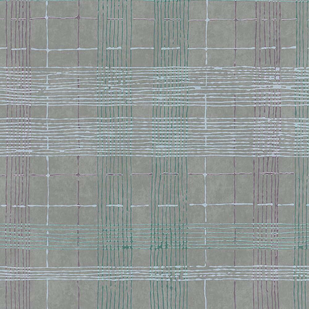 30439 - Essentials Plaid Lilac Turquoise grau Galerie Wallpaper
