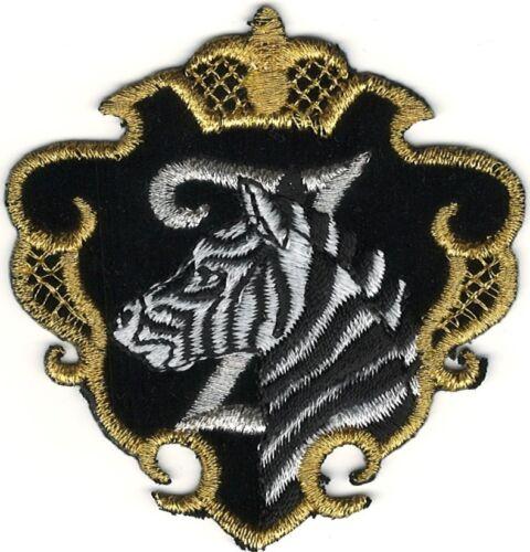 Savannah Zebra in Gold Black Shield Crest Portrait Embroidery Patch