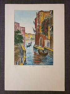 Original-Bela-Sziklay-1911-1981-Hand-colored-Etching-VENICE-Pencil-Signed